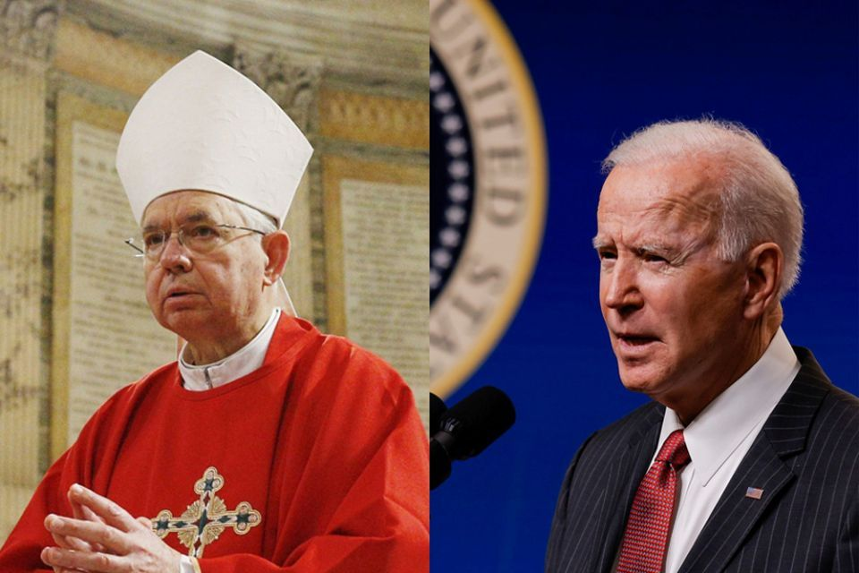 Los Angeles Archbishop José Gomez, president of the U.S. Conference of Catholic Bishops, in Rome in January 2020 (CNS/Paul Haring); U.S. President Joe Biden at the White House in Washington Feb. 10, 2021 (CNS/Reuters/Carlos Barria)